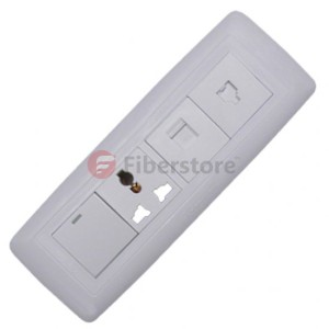 one RJ45 port, one RJ11 port, one electrical socket and one switch in a wall face plate