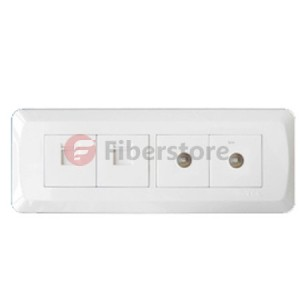 wall face plate with two RJ45 ports and two TV ports
