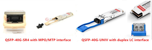 different interface between QSFP-40G-SR4 and QSFP-40G-UNIV